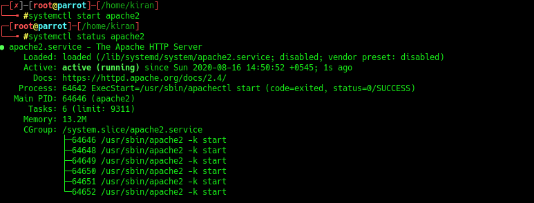 checking status of apache web server